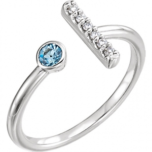 Aquamarine & Diamond Bar Ring