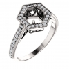 Hexagon Shaped Halo Semi-Mtg Engagement Ring
