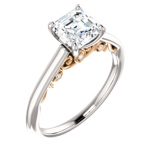 Asscher Cut Engagement Ring Semi-Mtg