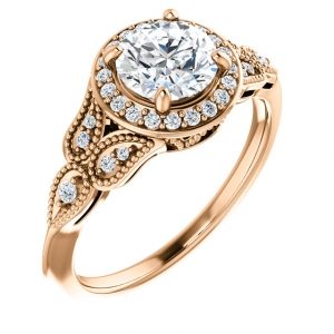 Halo Rose Gold Engagment Semi-Mount