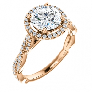 Rose gold twist engagement s..
