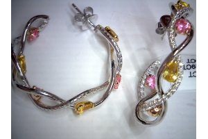 Gemstone & Diamond Hoops