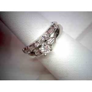 Estate Platinum and 14K Wedding Set
