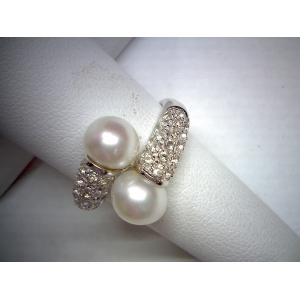 Two Stone Pearl Ring
