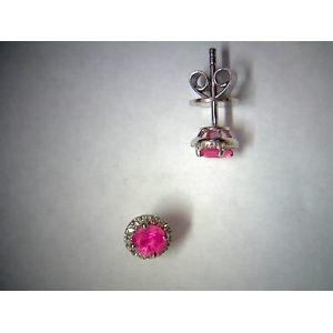 Hot pink sapphire & diamond earrings