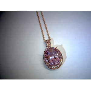 Rose Gold Amethyst & created Sapphire Pendant