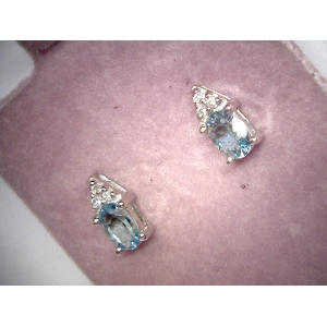 Blue Topaz & Diamond Ea..