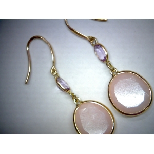 Amethyst & Pink Opal Earrings