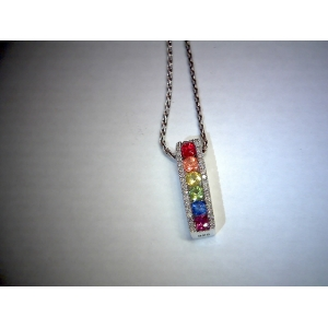 Multi Sapphire With Diamonds Pendants