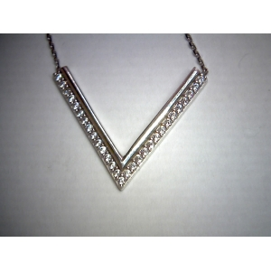 White Gold Chevron Neck..