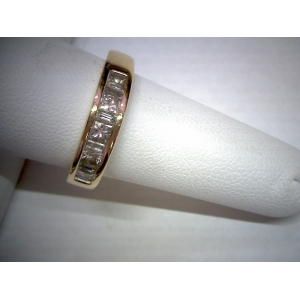 Estate Yellow Gold Baguette & Princess Cut Band