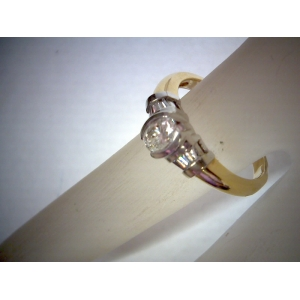 Estate Yellow Gold & Platinum Oval Diamond Ring