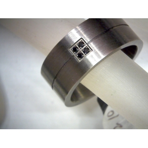 Gun Metal 4 Gemstone Ring