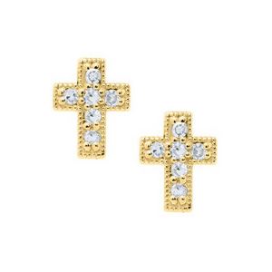 Yellow Gold Diamond Pave Cross Children's Earrings