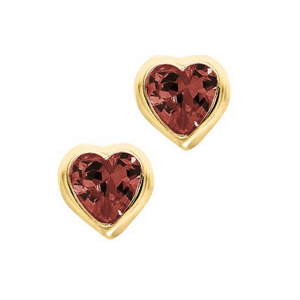 Yellow Gold Birthstone Heart Children's Earrings