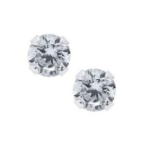 Sterling Silver Round Cubic Zirconia Children's Earrings