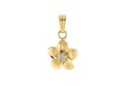 Yellow Gold Diamond Flower Pendant