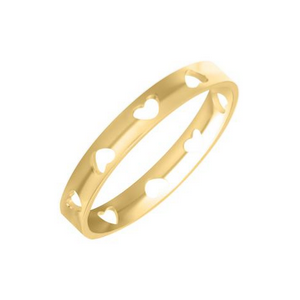 Yellow Gold Heart Pierced Children's Band