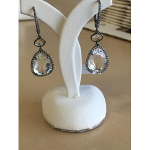 White Gold Rutile Quartz and Diamond Earrings