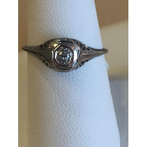 Estate White Gold Antique Filigree Ring