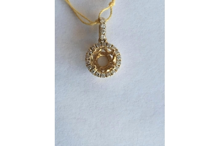 Yellow Gold Halo Pendant Mounting