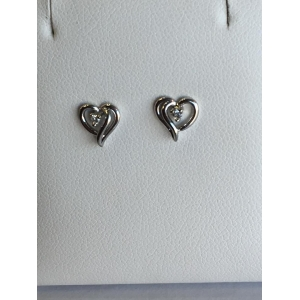 White Gold Heart Diamond Earrings