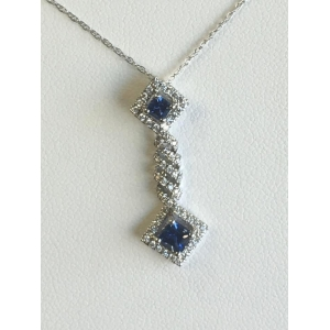 White Gold Blue Sapphire and Diamond Pendant
