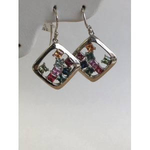 Silver Multi Sapphire Earrings