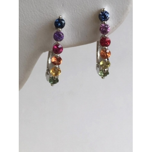 Silver Multi Sapphire Hoop Earrings