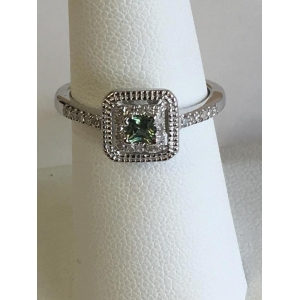 Silver Green Sapphire Ring