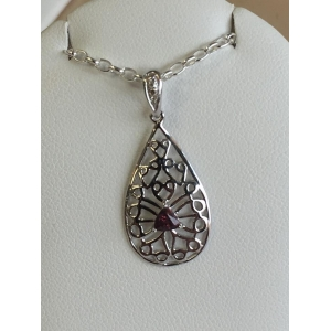 Silver Ruby Filigree Pe..