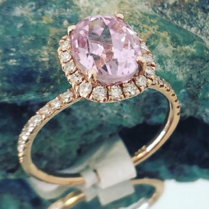 Rose Gold Kunzite and Diamond Ring