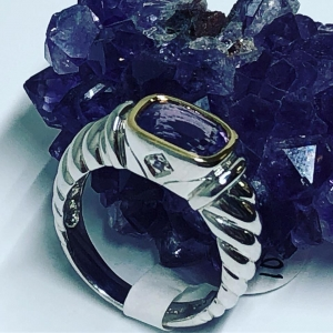 Silver and 18KY Amethyst and Diamond ring