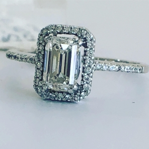1.40CTW Emerald Cut Engagement Ring