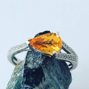 Spessartine Garnet and Diamond Ring
