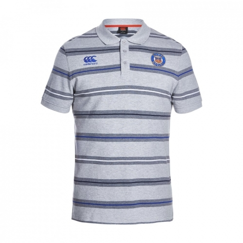 BATH RUGBY STRIPE POLO GREY MARL