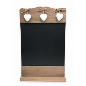 Rustic Wall Chalkboard with Hanging Heart Decoration