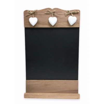 Rustic Wall Chalkboard with Hanging Heart Decoration title=