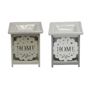 'Home' Ceramic and Wood Oil Burner / Wax Tart Warmer