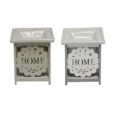 'Home' Ceramic and Wood Oil Burner / Wax Tart Warmer title=