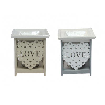 'Love' Ceramic and Wood Oil Burner / Wax Tart Warmer title=