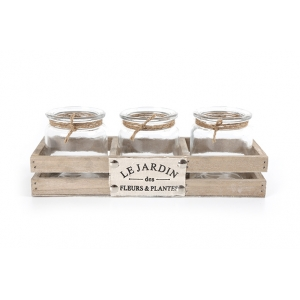 'Le Jardin' Crate with 3 x Tea Light Holders