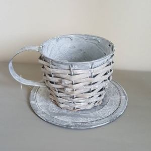 Galvanised Metal and Willow Cup and Saucer Planter