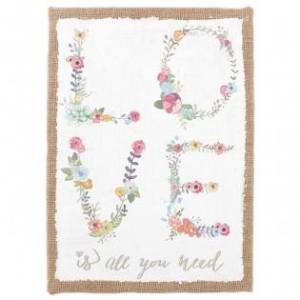 'LOVE is all you need' Printed Hessian Wall Plaque