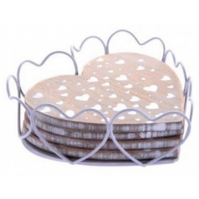 Heart Print Wooden Heart Coasters in Wire Basket title=
