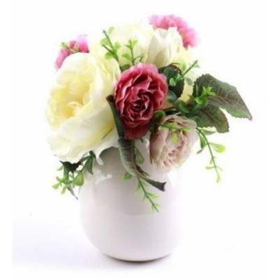 Faux Artificial Roses Bouquet in Ceramic Pot Vase title=