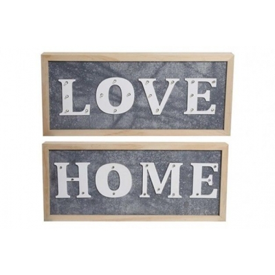 Wooden Frame Grey and White ' Home or Love' LED Light Up Plaque title=