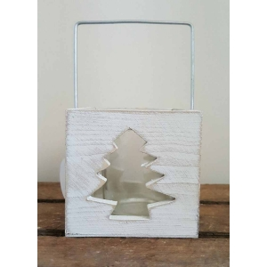 Whitewash Christmas Tree Cut Out Candl..