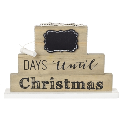 Wooden Block Christmas Countdown Chalkboard title=