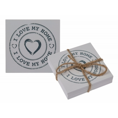 White Wooden 'I Love My Home' Coaster Set title=